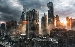 城市, 废墟, 太阳, 光