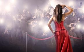 ragazza, Paparazzi, vestito rosso