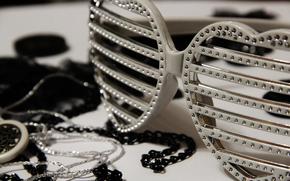 очки, сердца, стиль, диско, стразы,