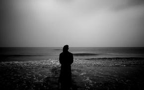sea, pier, silhouette