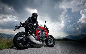 мотоцикл,  гонщик,  дорога,  природа,  небо,  облака,  Мотоциклы