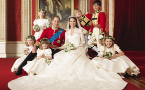 婚礼, 威尔斯亲王, 凯特, 凯瑟琳米德尔顿, 美女, 结婚礼服, 面纱, 花卉