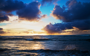 quiet, ocean, Hawaii, sunset, waves, splash, clouds