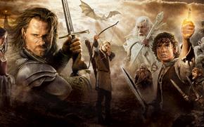 film, Il Signore degli Anelli, Frodo, Elijah Wood, Sam, Sean Astin, Gollum, Legolas, Aragorn, Viggo Mortensen, Gimli, Gandalf, Arwen, Liv Tyler, Swords, occhio, Hobbit, persone, Elfi, gnomo
