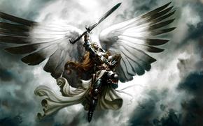 menina, asas, espada, cu
