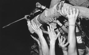 guitarra, Embate, manos, multitud, Msico