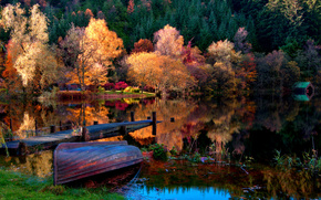 autumn, boat, nature