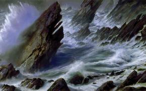 картина, море, шторм, берег, скалы, волны