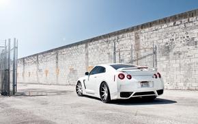 Nissan, TAG, Color blanco, Sintonizacin, pared, valla, neto, cielo, sol, piscina, Nissan