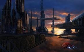 Arte, citt, navi, futuro, tramonto, nel cielo