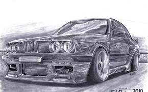 BMW, pencil, Art, cars, machinery, Car