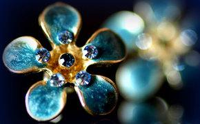 ring, Precious stones, blue, blue, aquamarine, gold, shine, reflections, blurring