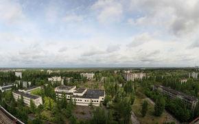 Pripyat, cielo, tetto, appartamento, alberi, citt fantasma