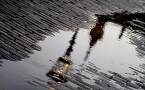 chausse, flaque, lanterne, rflexion, pluie
