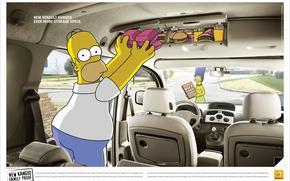 Simpsons, advertising, Car, fast food, Homer, Marge