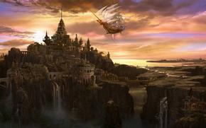 Art, city, ship, volatile, clouds, waterfall, bridge, castle, tower, sail