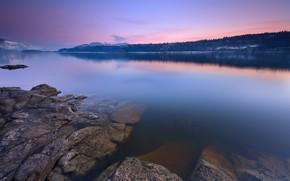 piedras, lago, reflexin, nieve