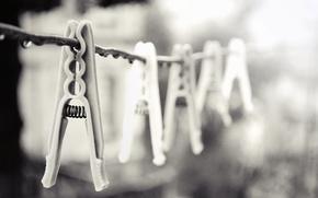 clothespins, rope, macro