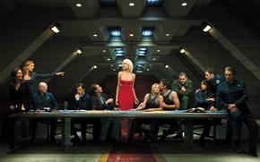 galassia, nave, situazione, persone, vestire, rosso, tavolo, serie, Cylon