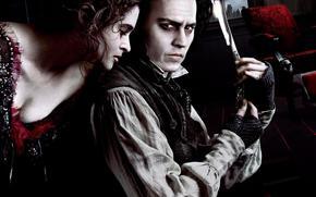 Tim Burton, Sweeney Todd, demon barber of Fleet Street, London, Benjamin Barker, Mrs. Lovett, maniac, killer, barber, barber, Johnny Depp, Helena Bonham Carter, knife, cutthroat, blade