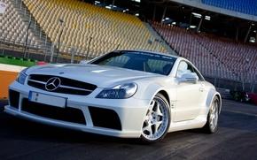 Mercedes, sl65, bianco, scomparto, auto, macchinario, Auto