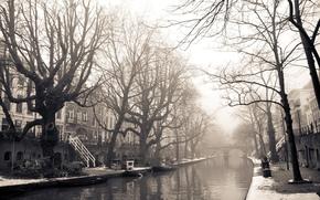 город,  амстердам,  нидерланды,  улица,  дома,  здания,  мост,  река,  деревья,  зима,  снег,  фото,  черное,  белое,  фон,  обои