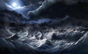 море,  волны,  луна,  шторм