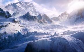 Arte, Montagne, neve, inverno, traccia, persone, Climbers