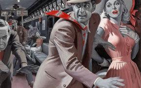 retro, panic, train, girl