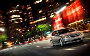Subaru, on, night, City, cars, machinery, Car