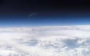 горизонт,  облака,  луна,  небо