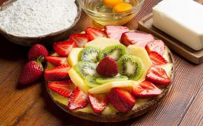 luscious dessert, strawberries, kiwi, pineapple, slices, eggs, oil, flour, plate
