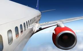 самолет, полет, турбина, крыло