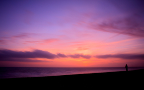 mood, coast, coast, water, sea, ocean, Beaches, sky, evening, girl, Girls, Silhouettes, wind