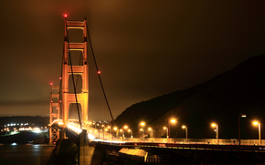 City, America, USA, states, Bridges, night, road, road, ocean, sea, water, light, lights, home
