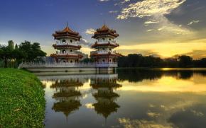 China, Pagoda, lake, evening, summer