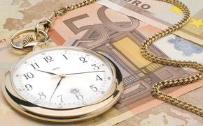деньги,  евро,  часы,  время-деньги,  цепочка