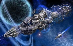 космос, планеты, звездолёты, полёт, портал