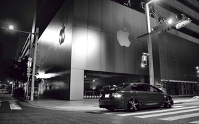 Tuning, Honda, Civic, B / W, street, city, Honda