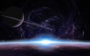 планеты,  атмосфера,  поверхность,  восход,  свет,  кольца,  спутники,  звезды