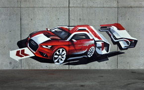 grafiti, mquina, pared, imagen