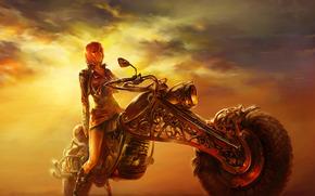 描画, 女の子, 夕方, 道路, オートバイ, 夕日