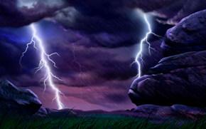 Sturm, Blitz, Element, regen, Niederschlag