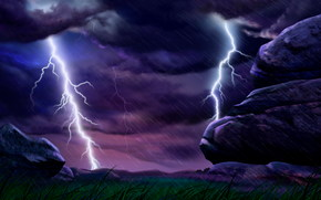 Thunderstorm, lightning, стихия, rain, ливень