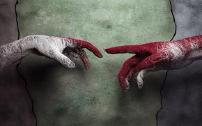 рука,  протянутая,  навстречу,  другой,  руке,  прикосновение