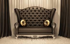 divano, stile, pelle, tappeto, Cuscino, oro, Tendaggio