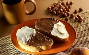 еда,  хлеб,  крем,  шоколад,  тарелка,  орехи,  чашка
