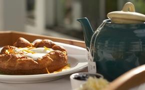 mattina, tavolo, piastra, torta, pane di granturco, ripieno, dolcezza, cibo, bollitore, Bollitore