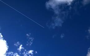 самолет, след, облака, небо