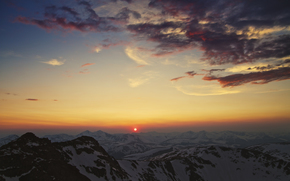 Cordilleras, Mountains, sunset, sun, clouds